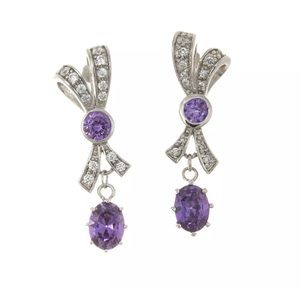 Sterling Silver Bow Tie Dangle Earrings, Purple CZ