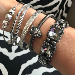 Bundle of 6 silver/pewter tone bracelets - nwot