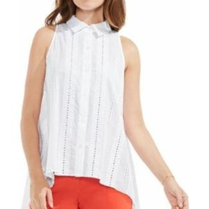 Vince Camuto Havana White Eyelet Collar Blouse Top