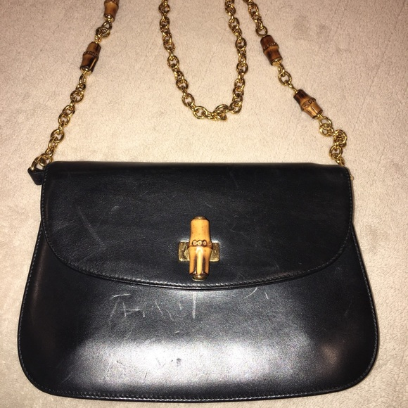 dfe13379c61700 Gucci Bags | Leather Bag Bamboo Chain Strap Vintage Rare | Poshmark