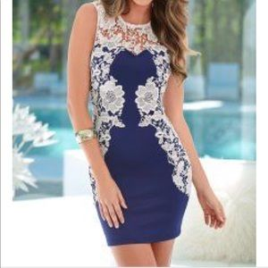 Venus blue with lace detail mini