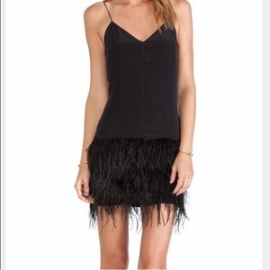 Saylor Mia Revolve black feather dress xs nye