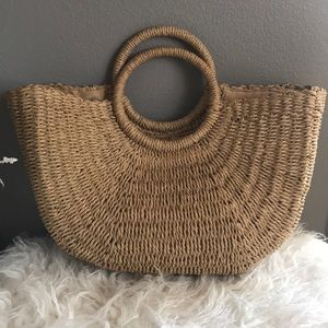 Straw boho beach handbag tote