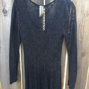 Free People Black Lace Cocktail Dress
