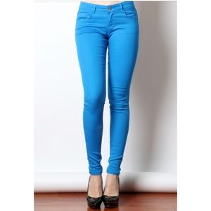 COMING SOON COTTON TWILL JEGGINGS BRIGHT BLUE