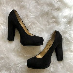 BLACK SQUARE TOR BLOCK HEELS PUMPS STILETTOS 8