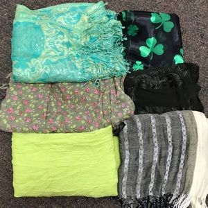 Bundle of Six Green Scarves