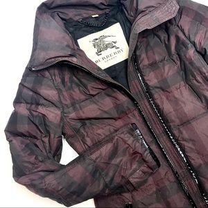 BURBERRY Black Down Long Coat Checked Plaid Sz S