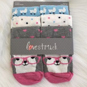 🌲🎅🏻🆕💕LOVESTRUCK💕Cute 3 Pr Pk Lama Socks🌲🎁