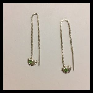 Sterling Silver Dangle Heart Peridot ER