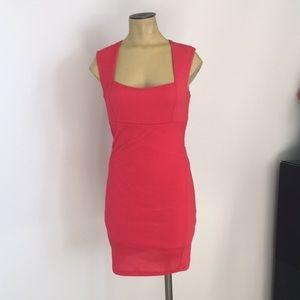 Pink /peach sleeveless mini open back.