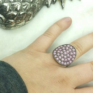 Ring purple and silver rounded