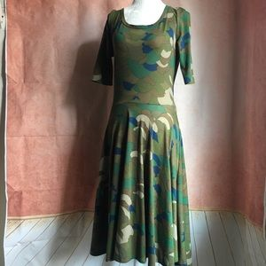 Lularoe Unicorn Camo 'Nicole' Skater Midi Dress