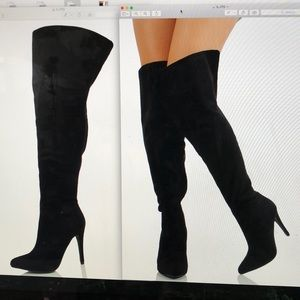 Paprika Black over the Knee open cuff boot