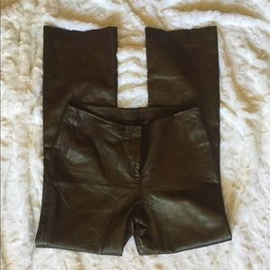 Chocolate leather pants
