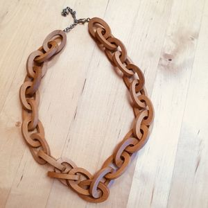 Wooden loop bead necklace, 26""