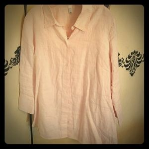 Pink linen button down shirt
