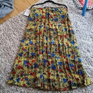 Lularoe Maxi skirt size XXL yellow w/ floral print