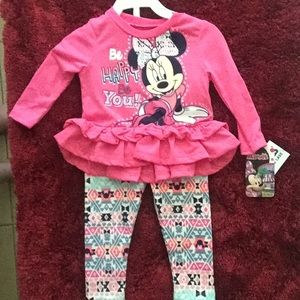 Minnie Mouse long sleeve ruffle outfit set