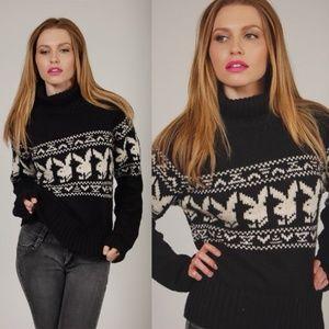 Vintage 90s Playboy Bunny Fair Isle Sweater