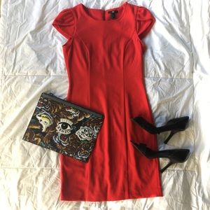 H&M Red Capped Sleeve Dress