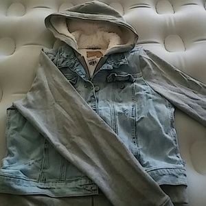 Hollister denim hooded jacket size L