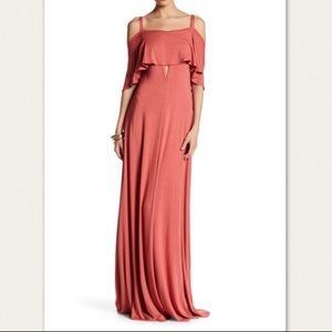 Go Couture Cold Shoulder Dusty Cedar Maxi Dress