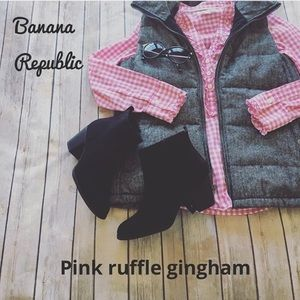 Pink ruffle gingham banana republic Blouse