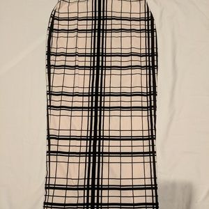 River island off white & black plaid pencil skirt