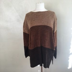 Vintage Tan and Brown Striped Sweater