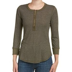 SPLENDID EMERY VARIEGATED RIB HENLEY TOP TEE