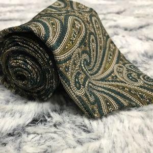 Giorgio Armani Green Paisley Silk Tie
