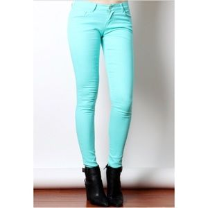 COMING SOON COTTON TWILL JEGGINGS IN MINT