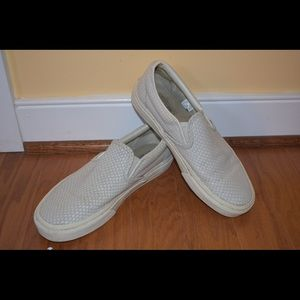 classic style top quality lowest price Vans Shoes   White Textured Suede Slipon   Poshmark