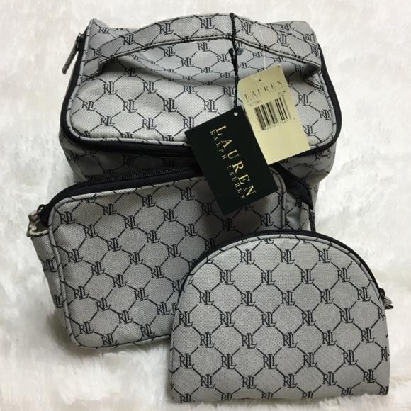 b2c9bf4c4f52 NWT Lauren Ralph Lauren Logo Makeup Bag Set