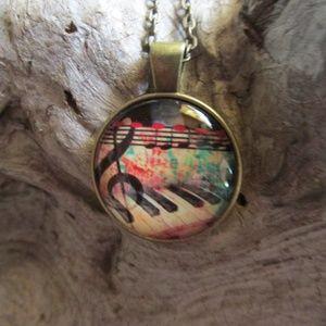 Jewelry - Piano Keys Cabochon Pendant Necklace New