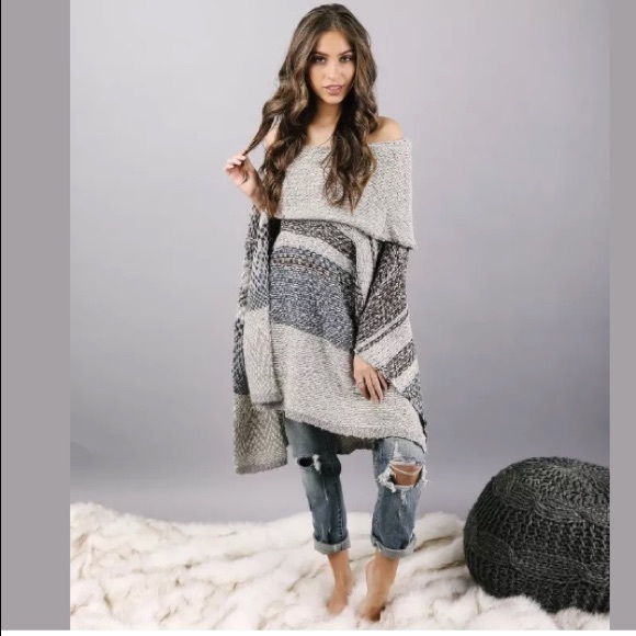 92% off Sweaters - Teal Gray Knit Sweater Cowl Draped Oversize ...