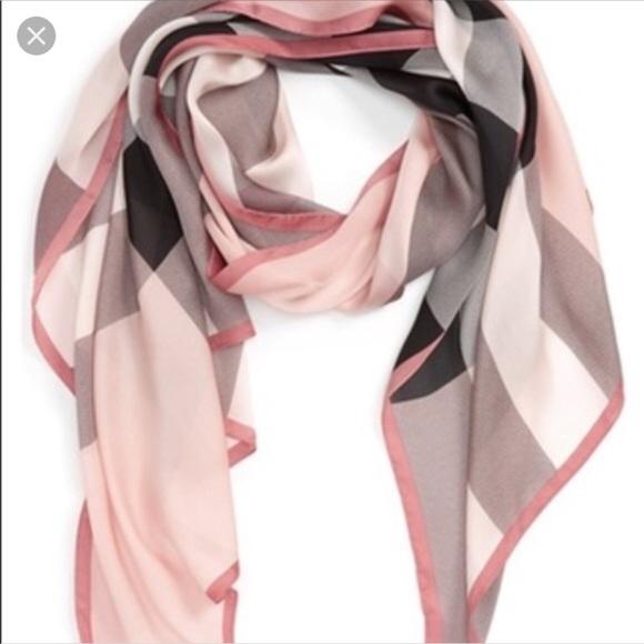 1808d977e865 Women s Pink Check Silk Satin Scarf Ash Rose