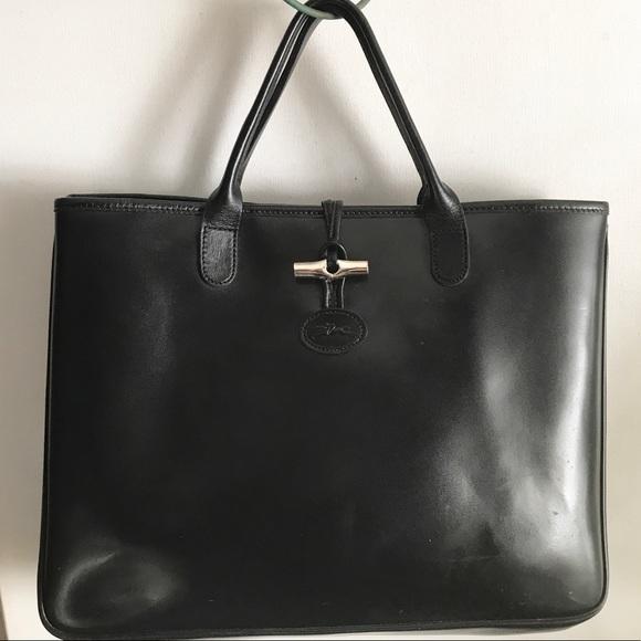 Longchamp Handbags - LONGCHAMP black leather BAG France Roseau d1c7372105408