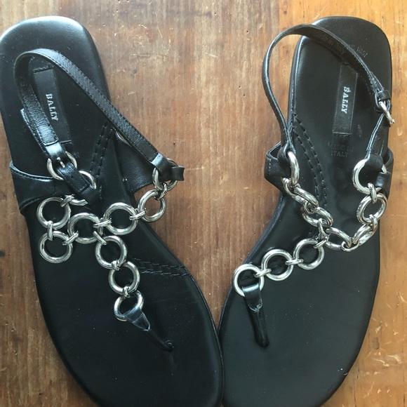 c9b4e7c4054d7 Black Bally silver Chain flat sandals 7