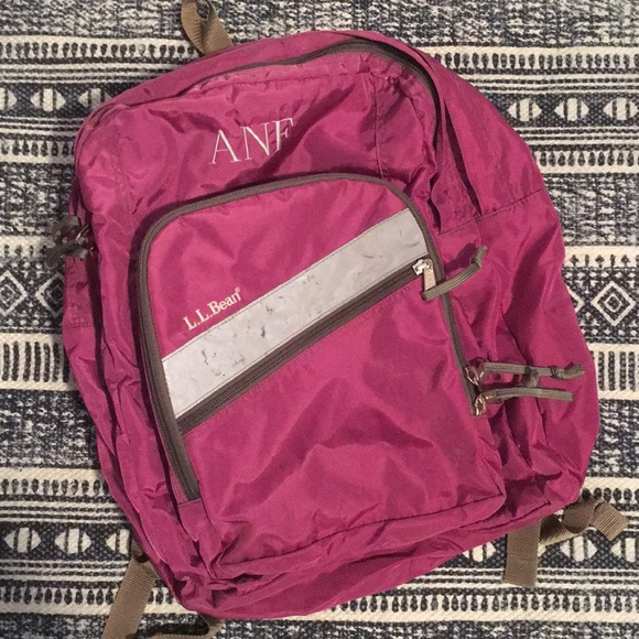 "6f15cc6ef5 L.L. Bean Handbags - LLBean Magenta Pink Deluxe Book Bag ""ANF"" Monogram"