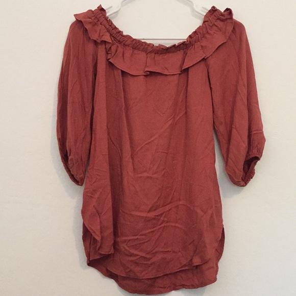 0f936c7e18496c Jella C. Tops - Off shoulder rust colored top