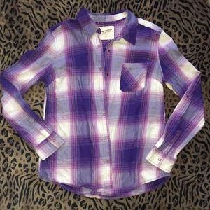 Arizona Purple Plaid Flannel Shirt Large