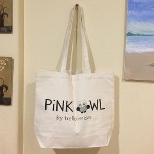 Pink Owl canvas bag