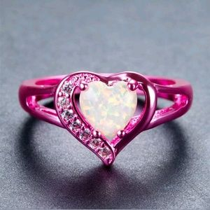 Jewelry - Pink Gold Filled Heart Ring with White Opal