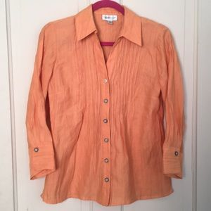 🍊 Coldwater Creek Pleated Bamboo button down
