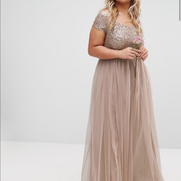 Mayra plus-size maxi dress w/sequin & tulle skirt