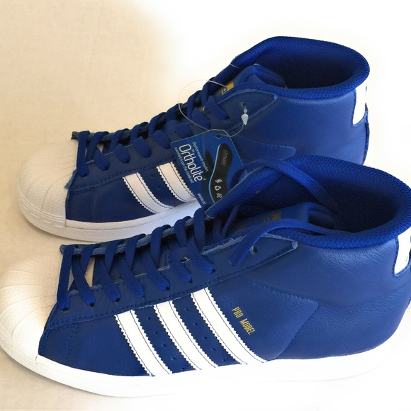 8ebc3de8a635 Adidas Pro Model Royal Blue White Gold Shell Toe