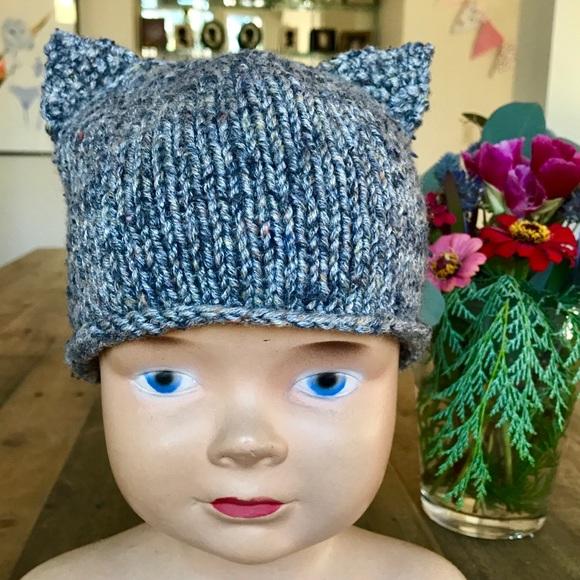 082ba367b Hand Knit Slate Kitty Baby Hat 6-12 months