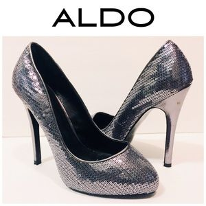 Aldo Shoes - Aldo Silver Sequin Pumps